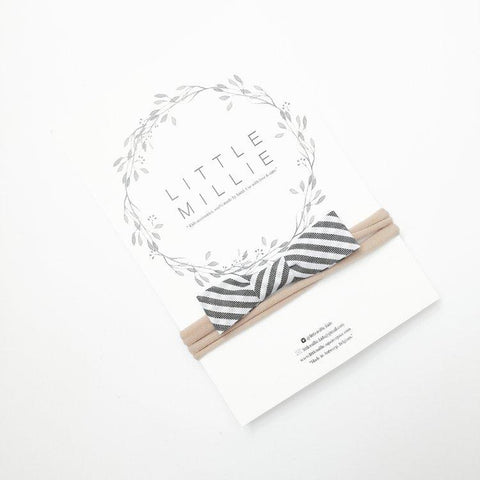 Little Millie - Stripe Bow/Beige Nylon Headband
