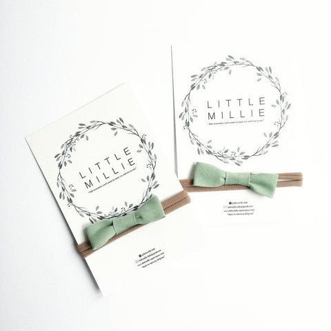 Little Millie - Mint Bow/Beige Nylon Headband