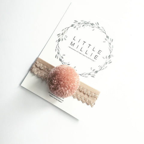 Little Millie - Headband Blush Single Pom Pom/Nude Lace