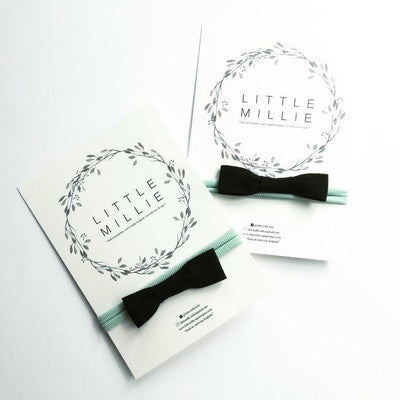 Little Millie - Headband Black Bow/Mint Nylon