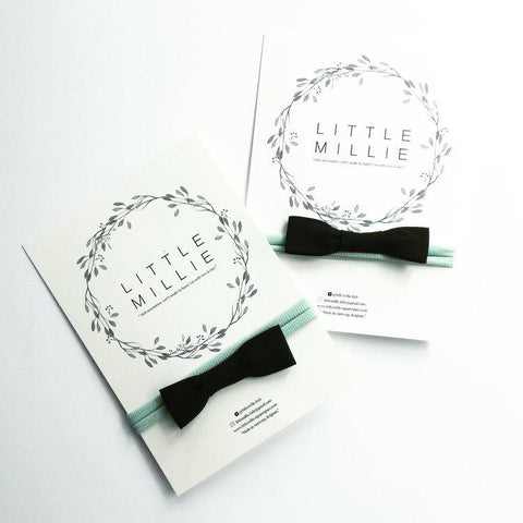 Little Millie - Black Bow/Mint Nylon Headband