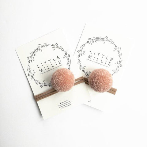 Little Millie - Blush Single Pom Pom/Beige Nylon Headband