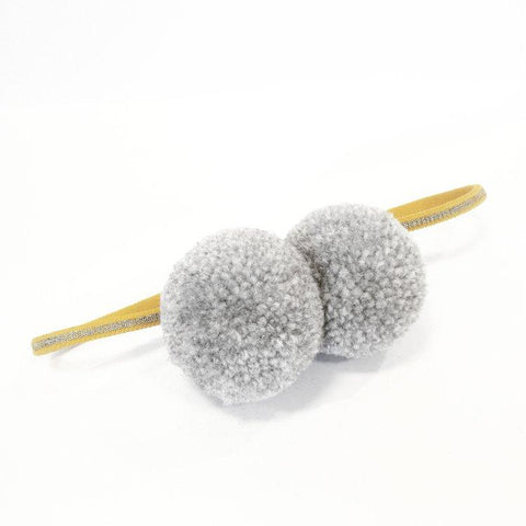 Little Millie - Double Grey Pom Pom/Ocre & Gold Headband