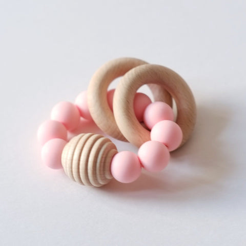 Blossom & Bear - Wooden Beaded Teething Toy Blush Pink