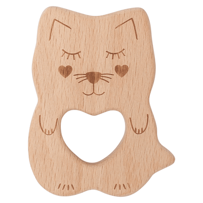Kippins - Natural beech wood teething toy Kitty Kitten