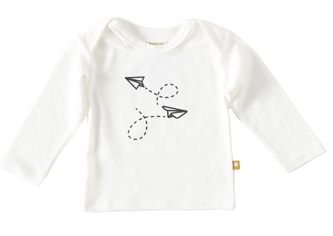 Little Label - Newborn T-shirt long sleeves off white black airplane