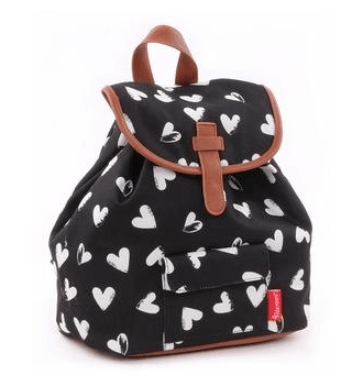 Kidzroom - Black & White hearts White Backpack Trendy