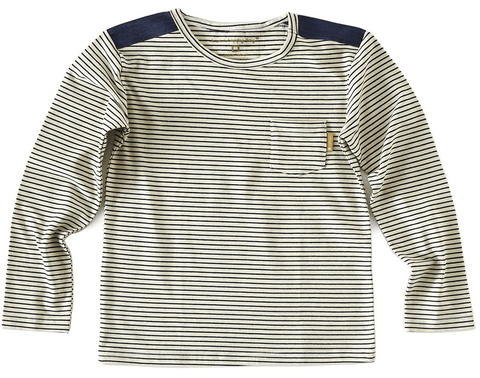 Little Label - Boys T-shirt white Blue Stripe