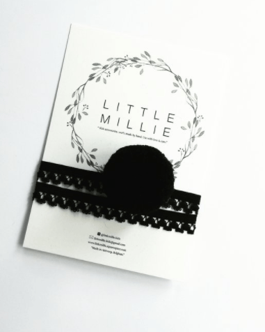 Little Millie - Headband Black Single Pom Pom/Black Lace