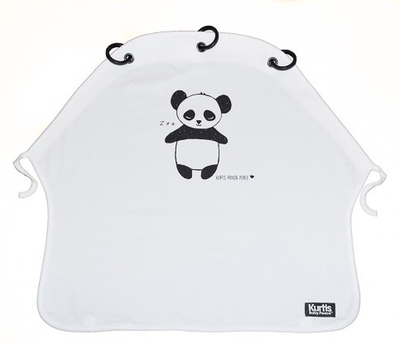 Kurtis - Pram Curtain Panda Black & White