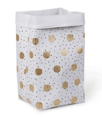 Childhome - CANVAS BOX 32x32x60 WHITE GOLD DOTS