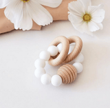 Blossom & Bear - Wooden Beaded Teething Toy White