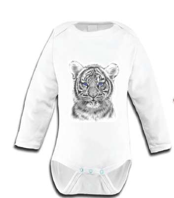 Miss Princess and Little Frog - Baby Romper TENCEL Long sleeves Tiger