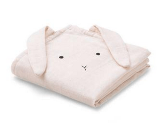 Liewood - Hannah Muslin Cloth Rabbit Sweet Rose 2 Pack