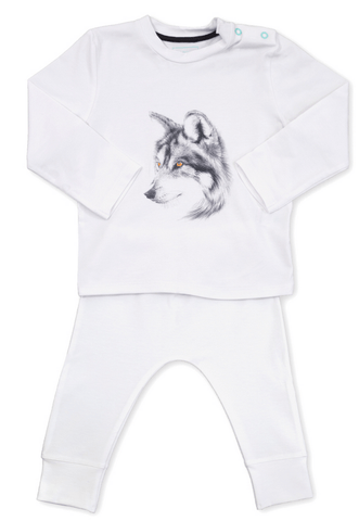 Miss princess and little frog - Pyjamas Tencel long sleeves Wolf