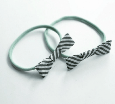 Little Millie - Headband Stripe Bow/Mint Nylon