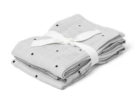 Liewood - Hannah Muslin Cloth Classic Dot Dumbo Grey 2 Pack