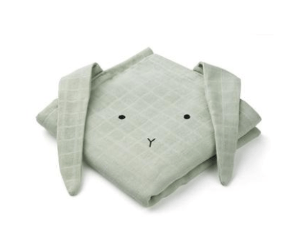 Liewood - Hannah Muslin Cloth Rabbit Dusty Mint 2 Pack