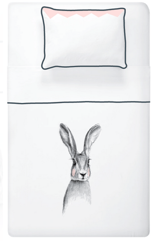 Miss Princess and little frog - Set Duvet cover Tencel Rabbit