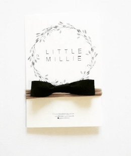 Little Millie - Black Bow/Beige Nylon Headband