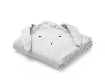 Liewood - Hannah Muslin Cloth Rabbit Grey 2 Pack