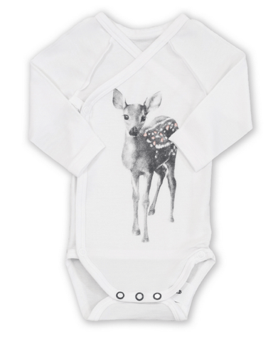 Miss Princess and Little Frog - Cross-over Baby Romper TENCEL long sleeves Bambi