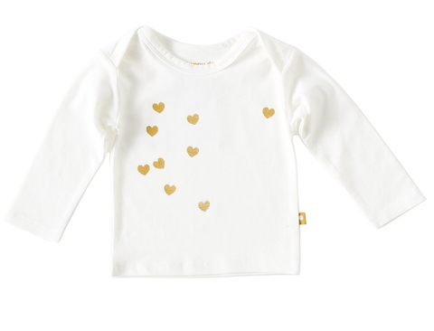 Little Label - Newborn T-shirt long sleeves off white caramel hearts