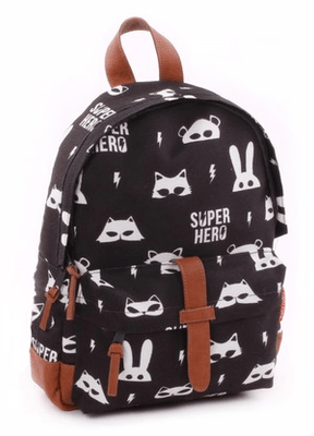 Kidzroom - Black & White Superhero Backpack