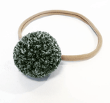 Little Millie - Headband Melange Green Single Pom Pom/beige Nylon