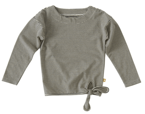 Little Label - Girls Knot T-Shirt Black White Stripe