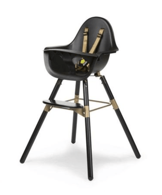Childhome - EVOLU 2 CHAIR BLACK / GOLD 2 in 1 + BUMPER
