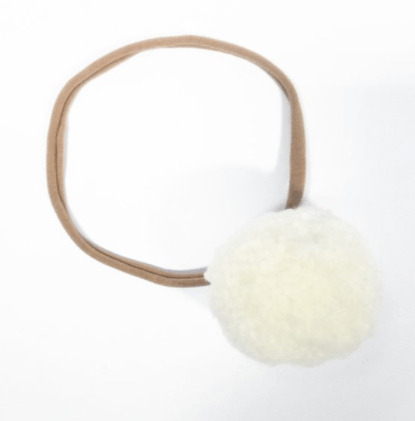 Little Millie - Off White Single Pom Pom/Beige Nylon Headband
