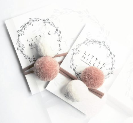 Little Millie - Off White & Blush Pom Pom/Beige Nylon Headband