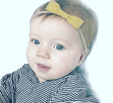 Little Millie - Headband Mustard Bow/Beige Nylon