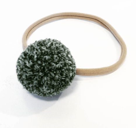 Little Millie - Melange Green Single Pom Pom/beige Nylon Headband