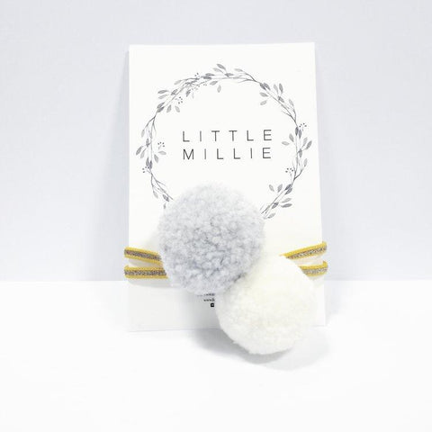 Little Millie - Headband Light Grey & Off White Pom Pom/Ocre & Gold