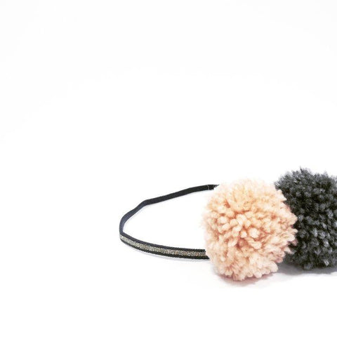 Little Millie - Blush & Dark Grey Pom Pom/Blue & Gold Headband