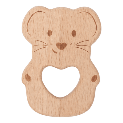 Kippins - Natural beech wood teething toy Luna mouse