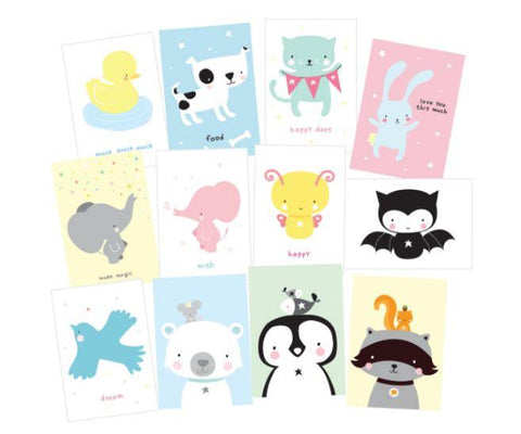 12 postcards Cute Animals