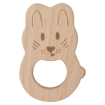 Kippins - Natural beech wood teething toy River Rabbit