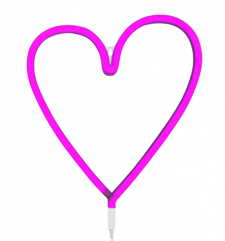 Neon Light Heart Pink