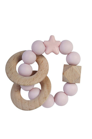 Nibbling - Rattle Natural Wood Baby Pink