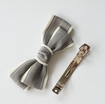 Little Millie - French Clip Addie Bow Grey