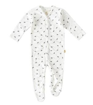 Little Label - Babysuit with feet little airplane in Black