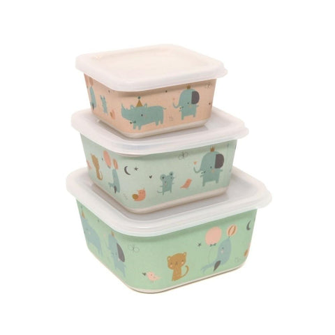Petit Monkey - Bamboo Storage Boxes Rhino & Friends