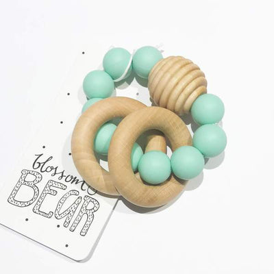 Blossom & Bear - Wooden Beaded Teething Toy Mint Green