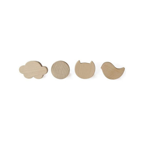 4 Wooden Wall Hook Set