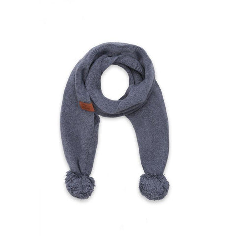 Effiki - Cashmere Scarf With Pom Poms Gray