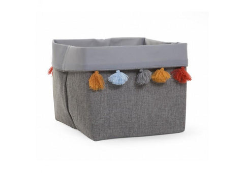 Childhome - CANVAS BOX 32X32X29 CM DARK GREY+TASSEL