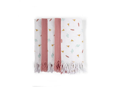 Childhome - TETRA TOWEL SET OF 3 PRINTED TIPI + 2 NUDE WITH FRINGES